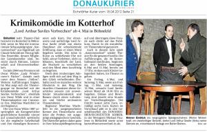 Theatergruppe Szenenwechsel Donaukurier 18.04.2012 Lord Arthur Saviles Verbrechenwww.donaukurier.de