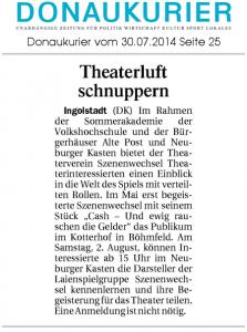 Theatergruppe Szenenwechsel Donaukurier 30.07.2014 Sommerakademiewww.donaukurier.de