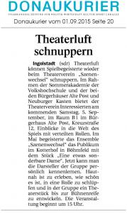 Theatergruppe Szenenwechsel Donaukurier 01.09.2015 Sommerakademiewww.donaukurier.de