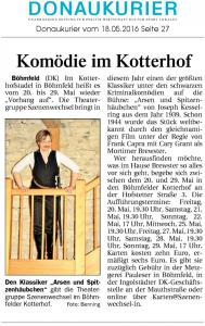 Theatergruppe Szenenwechsel Donaukurier 18.05.2016 Arsen und Spitzenhäubchenwww.donaukurier.de