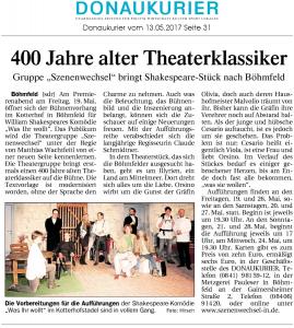 Theatergruppe Szenenwechsel Donaukurier 13.05.2017 Was ihr wolltwww.donaukurier.de